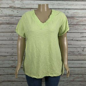 Woman Within Green Crochet V-neck Shirt T-shirt
